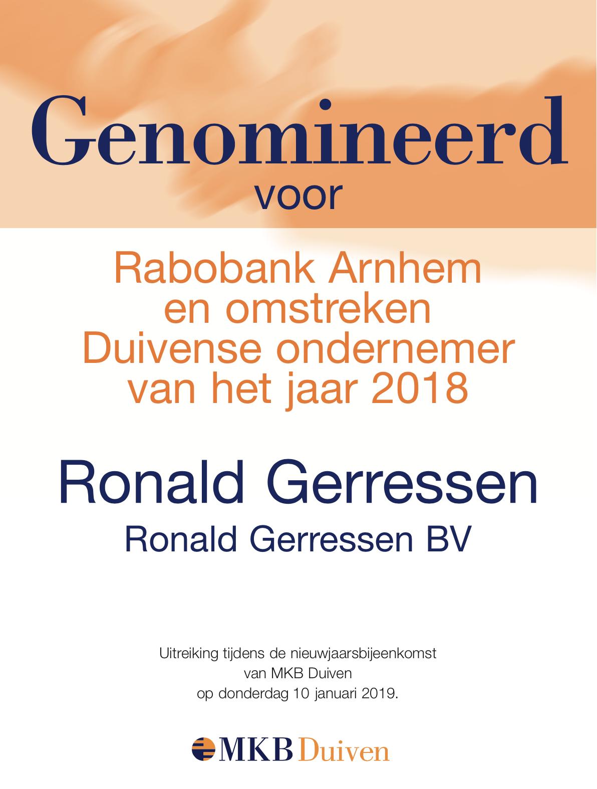 Ronald Gerressen, genomineerd voor ondernemer van het jaar 2018